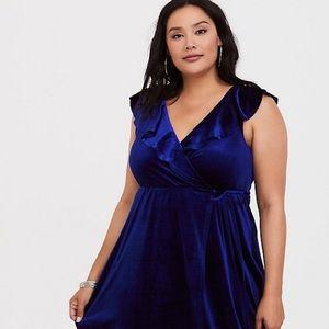 Torrid Blue Velvet Dress NWT